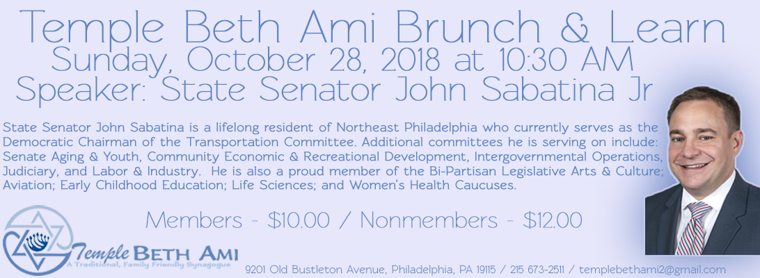 Philadelphia Conservative Synagogue Temple Beth Ami has regular events and non members may attend services